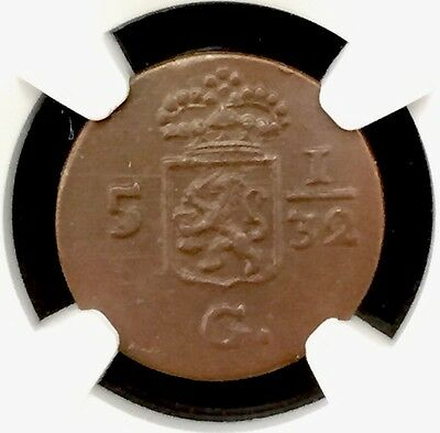 1808 Netherlands East Indies 1/2 Duities Holland Ngc Ms62 Brown Pop.3