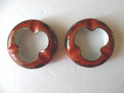 Two Vintage Chinese Red Porcelain Ashtrays Made in Macau For A & C