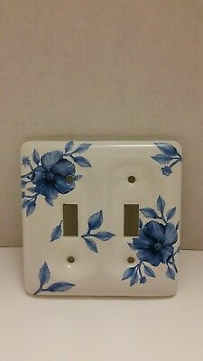 Vintage Cottage Decor Double Light Switch Outlet Plate Cover Blue White Ceramic