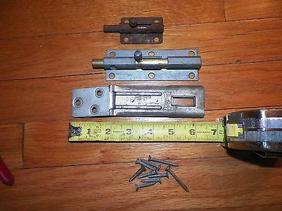 Lot of 2 Stanley Door Barrel Bolt Latches and 1 Master Padlock Latch Free Ship
