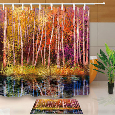 Oil Painting Colorful Autumn Tree Bathroom Shower Curtain Set Fabric 12 Hook 71""