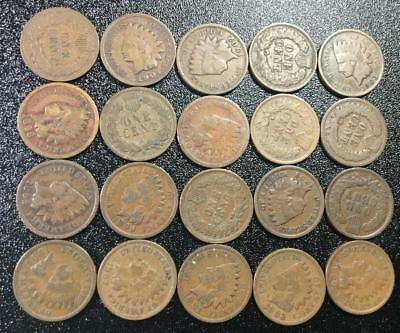 1800s-1900s US Indian Head Cents SEt of 20 Assorted! All Good & Better Coins!