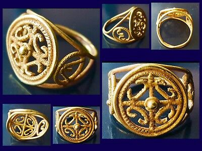 Rare Roman Solid Gold Openwork Ring C1st Cent AD With Lettering Alpha & Omega