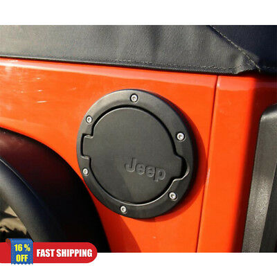 Black Fuel Filler Door Cover Gas Tank Cap 2/4 Door For 07-16 Jeep Wrangler JK