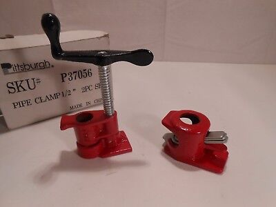 """Pittsburgh 2 Pc 1/2"""" Heavy Duty Pipe Clamp Set Item 37056 Cast Iron"""