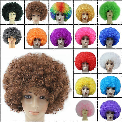 US 1-10X Disco Afro Clown Hair Football Fan Curly Wig Adult Costume Cosplay Hair