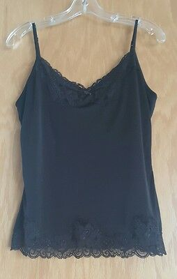The Limited Womens Large Lace Trim Brown Camisole Cami Tank Top Adjustable Strap