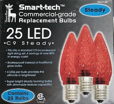 Pack of 25 LED C9 Red Replacement Christmas Light Bulbs, New in Box
