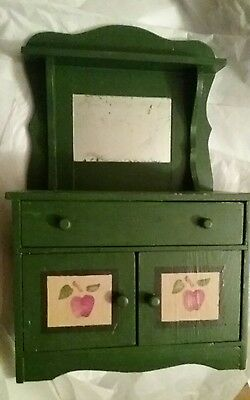 "ANTIQUE  CHILDS HAND STENCILED CUPBOARD 11""×17 1/2"" by 5"" VGUC!"