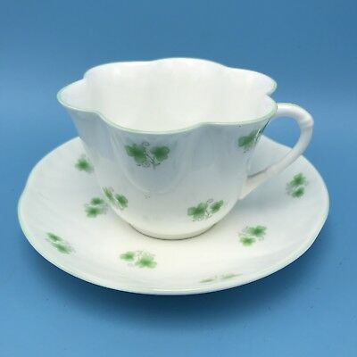 "Vintage Crown Staffordshire England- China Tea Cup & Saucer "" Shamrock"" -Fluted"