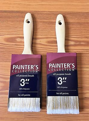 """Lot of 2 Painter's Collection All Purpose Polyester Paint Brush 3"""" Trim"""