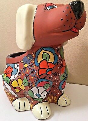 Mexican Talavera Terracotta Dog XL Pot Planter Southwest Pottery Folk Art 15""