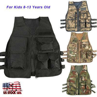 Kids Children Tactical Military Vest Assault Combat Gear Army CS Play Hunting