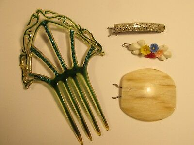 Vintage Lucite Plastic Rhinestone Hair Comb And Barretts