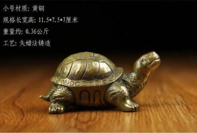 Chinese old antique brass statue hand made lucky fengshui Tortoise