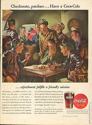 1945 vintage beverage AD Coca Cola classic ART Playing Chess in the Bar  091116