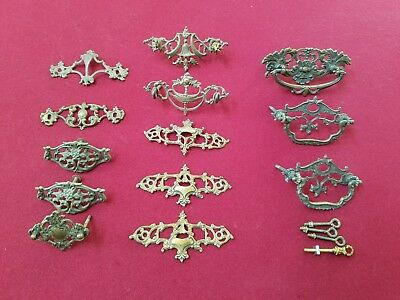 Lot of 13 Vintage Stamped Brass Victorian Drawer Pull Backplates for Crafts