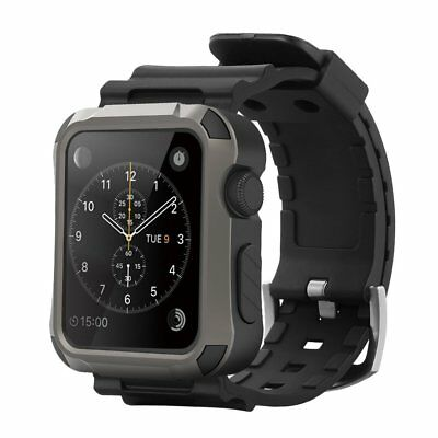 Simpeak Rugged Protective Case w/Sillicon Band for Apple Watch 42mm Series 3/2/1
