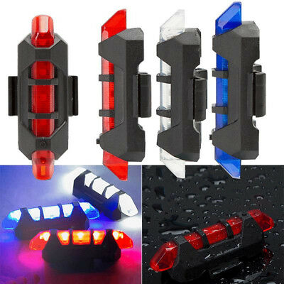 USB Rechargeable Cycling 5LED  Bike Bicycle Tail Warning Light Rear Safety Lamp