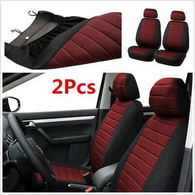 2Pcs Red Car Front Seat Cushion Seat Covers For Interior Accessories 5MM Foam