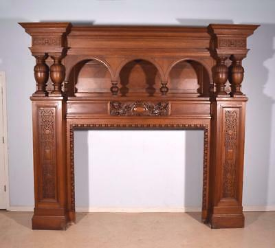9 Foot Tall Massive Antique Oak Neoclassical Fireplace Surround/Mantel