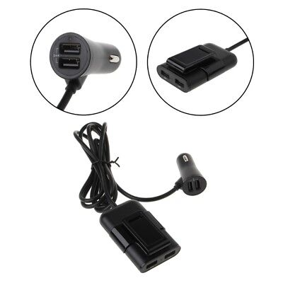 4-Port USB Car Charger Adapter For Front Back Seat 36W 7.2A With Extension Cable