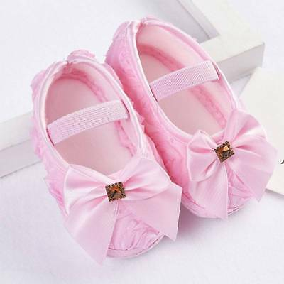 Soft Toddler Girls Ribbon Bowknot Kids Shoes Lace Flower Baby Beauty