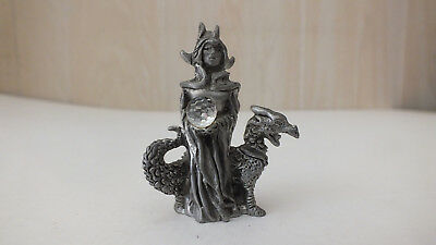 """Wizard Princess with Dragon & Crystal 2 1/8"""" High x 1 3/4"""" Wide Pewter 1982 STC"""