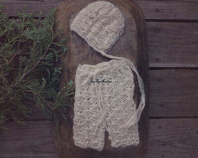 Newborn Baby Mohair Knitted Beanie Hats Caps Handmade Crotchet Photography Props
