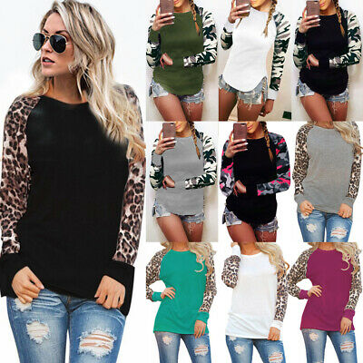 UK Womens Leopard Casual Tee Shirt Ladies Stretch Jumper Pullover Blouse Tops