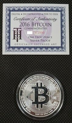Bitcoin Proof 1 oz .999 fine Solid silver commemorative AOCS limited 2016 w/ COA