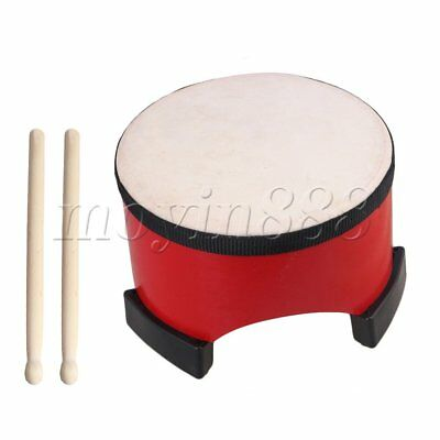 20cm Dia Wooden Red Children Percussion Floor Tom Drum with 2 Sticks