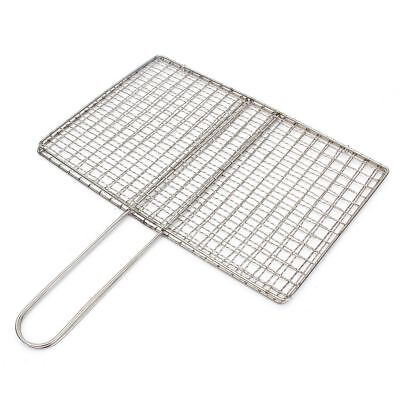 Stainless Steel BBQ Fish Meat Net Barbecue Grill Mesh Wire Clamp Outdoor Pi C6N4