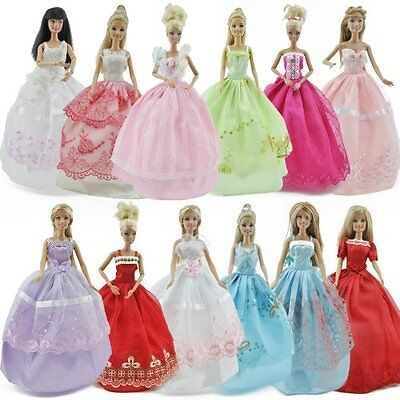 US 5pcs/Lot Barbie Doll Princess Dresses Outfits Party Wedding Clothes Gown HOT