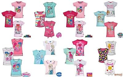 Girls Kids Pj Masks Trolls Masha Minnie Pony Tinkerbell T-Shirt Top Age 2-12yrs