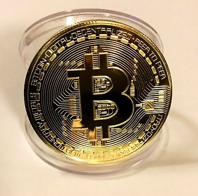 BITCOIN!! Gold Plated Physical Bitcoin Collectors Coin With Protective Case