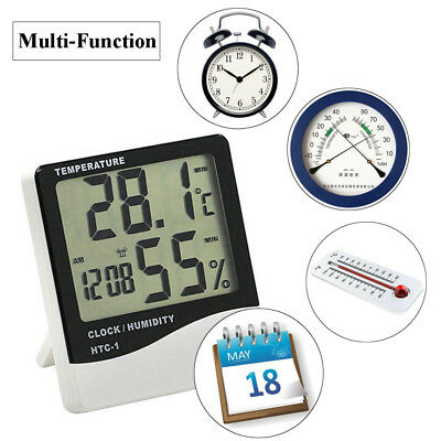 Digital LCD Thermometer Electronic Temperature Humidity Meter Hygrometer Clock