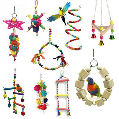 Wooden Bird Parrot Swing Toy Parakeet Cockatiel Budgie Training Cage Hang Toys