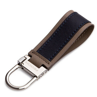 NEW Fedon Nappa Snap Hook Keyring Dark Blue/Brown