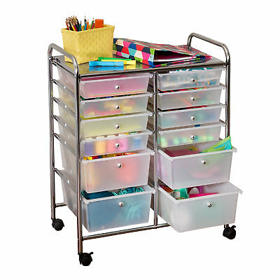 Art storage cart craft on wheels studio organizer office hobby 12 rolling cart 12 drawer organize craft paper home classroom art studios chrome sciox Images