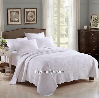New cotton 3pc quilted queen king bedspread white embossed nature leaf gorgeous