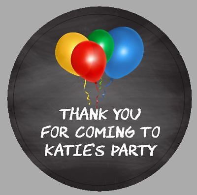 24 x 40m Round Personalised Party Stickers Balloons Chalkboard Effect Labels
