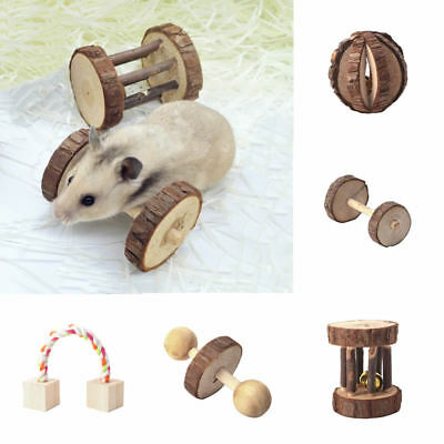 Natural Wood Pet Rabbits Hamster Chew Exercise Dumbell Unicycle Bell Roller Toys