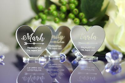 PERSONALISED 14x15cm NAME MIRROR ACRYLIC WEDDING TABLE SETTINGS PLACE HEARTS