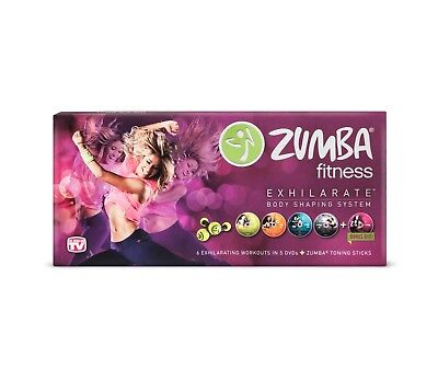 Zumba Fitness Exhilarate Body Shaping System 6 Workouts 5 DVD and Toning Sticks