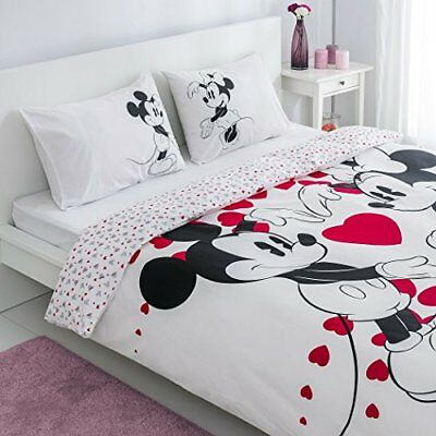 Disney Minnie Mickey Mouse Bedding Duvet Cover Set 100% Cotton Full Double 4Pcs