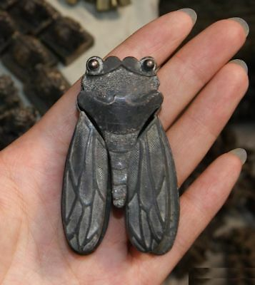 Old Collectible Decoration Copper Carving Vivid Cicada Shape Inkwell box