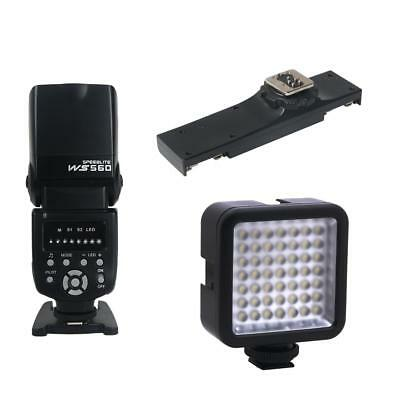 Support de Flash Speedlite+ Adaptateur De Sabot Double Flash Vidéo pr Canon