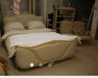Antique French King Size Bed Newly Recovered