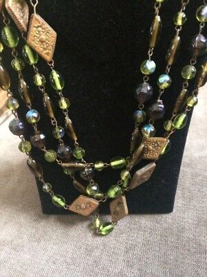 """Vintage Art Glass and Brass Bead Necklace AMAZING EXTRA LONG 76"""" high quality"""